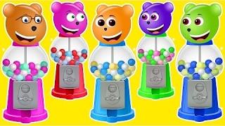 Mega Gummy Bear Giant Gumball Machine at Park finger family nursery rhymes for kids
