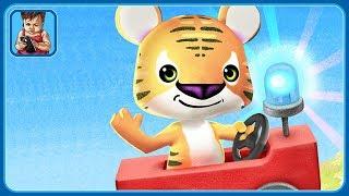 Тигренок, Панда, Пони и Слонёнок катаются на лодке, ракете и машине * мультик игра для малышей