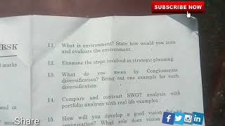 IDE UNOM Business Policy And Strategic Management Dec 2017 Question Paper
