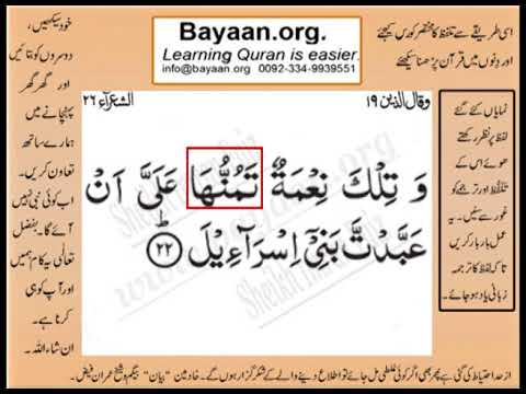 Quran in urdu Surrah 026 Ayat 022 Learn Quran translation in Urdu Easy Quran Learning