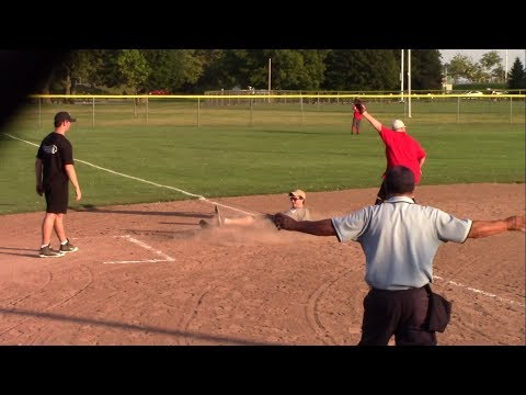 Softball Controversial Plays - Umpire Reverses Call - Wells Fargo Vs NBC Sports - August 09, 2017