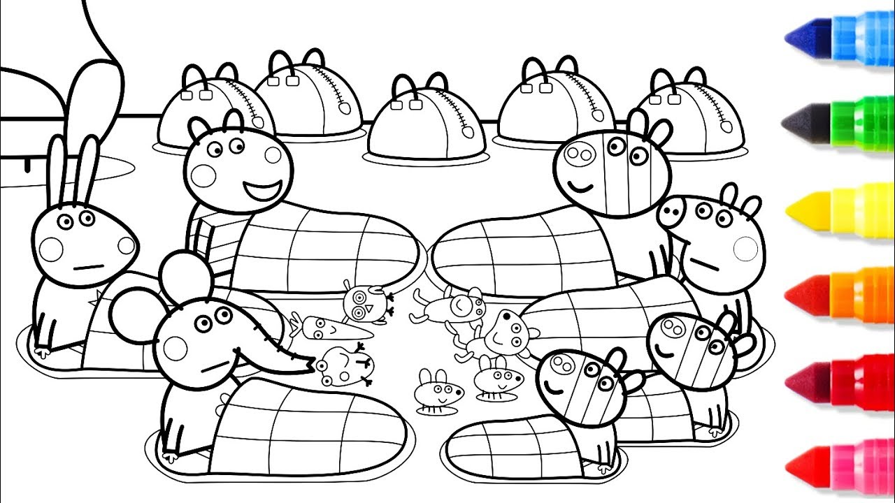 Peppa pig friends together coloring pages peppa coloring for Coloring pages peppa pig
