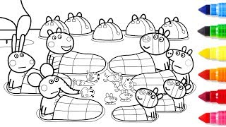 Peppa Pig Friends Together Coloring Pages - Peppa Coloring Book - Learning Drawing Videos For Kids