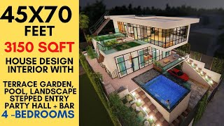 45x70 Feet House Ultra Modern Luxurious House Design With Swimming Pool Terrace Garden At Front Youtube