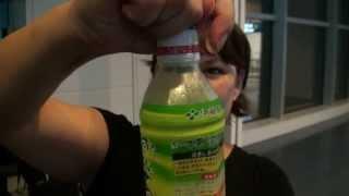 fresh green tea in cap released when opened