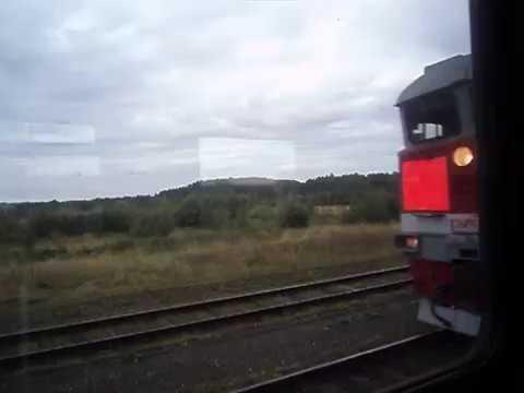 Вид из окна поезда. Скрещение с пассажирским поездом Екатеринбург - Устье-Аха на станции Сарагулка