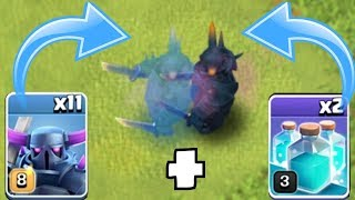 "NEW 3 STAR METHOD!?! ""Clash Of Clans"" UPGRADING lvl 8 PEKKA + CLONE SPELLS!"