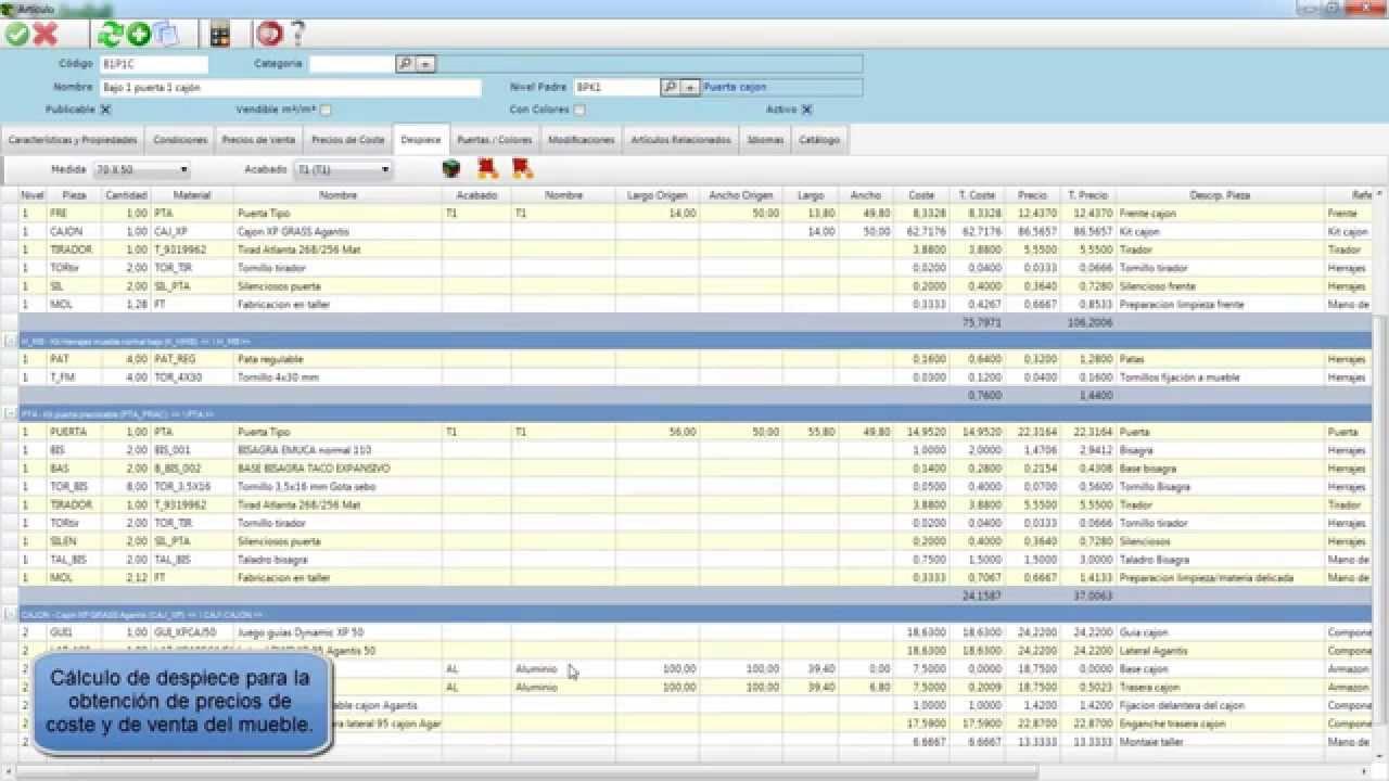 Programas diseño, presupuesto, fabricación de cocinas con gestión y ...
