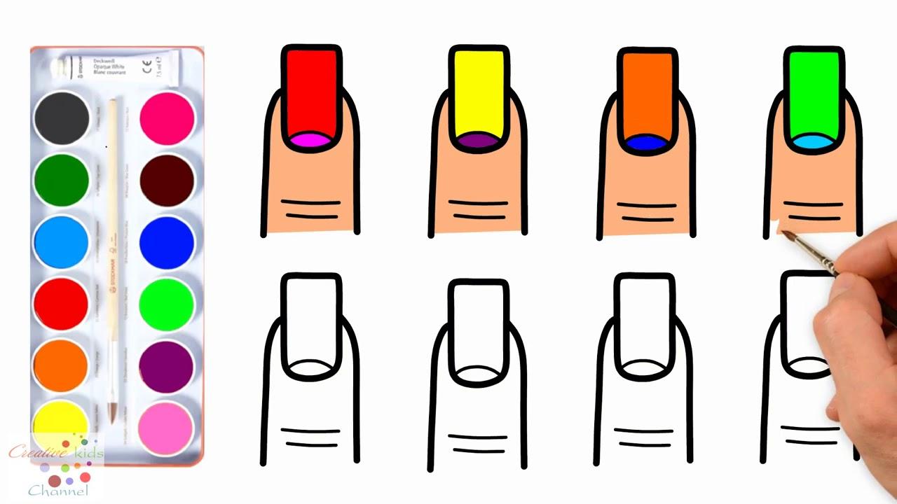 Coloring Book Nail Art Design For Girls Tirnak Boyama Sayfasi