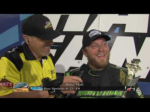 Knoxville Raceway Pace Pro Sprints Victory Lane with Russ Hall - June 22, 2019