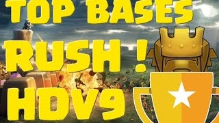 coc hdv 9 rush   top bases en defense   clash of clans francais