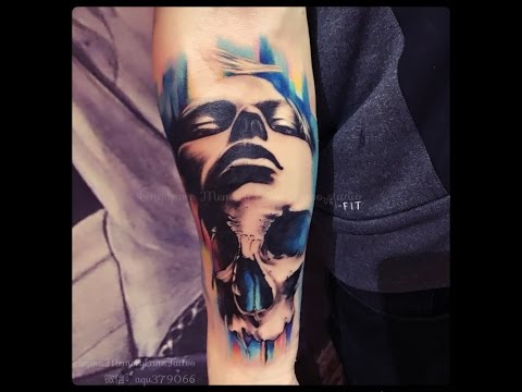 bbb94064a Custom Girl & Skull Forearm Tattoo by Singapore Best Tattoo Studio & Artist