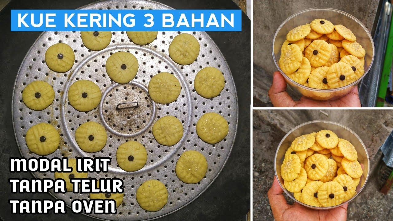 Kue Kering 3 Bahan Modal Irit Takaran Sendok No Oven Mixer Youtube