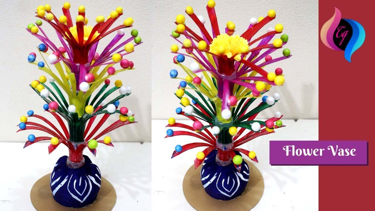 Empty plastic bottle vase making craft handmade flower for Plastic bottle vase craft