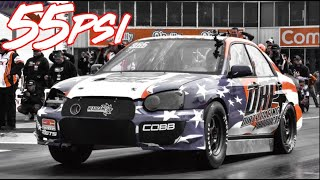 1100HP Subaru WRX on 55psi Slamming Gears - 8 Second Subaru!