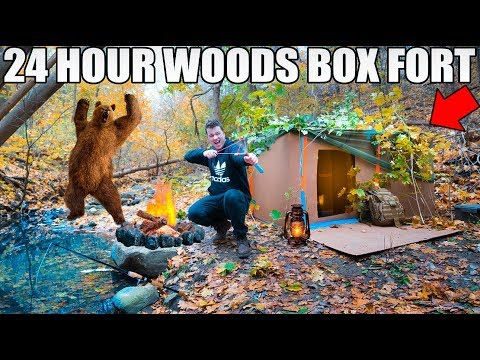24 HOUR BOX FORT IN THE FORREST SURVIVAL CHALLENGE! 📦🌲 Coyot