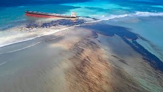 Mauritius in 'environmental crisis' as oil leak from grounded ship threatens coastline