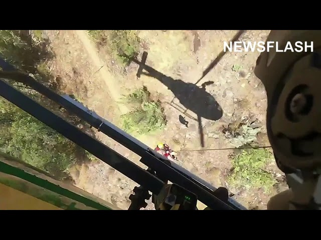 Chopper Rescue Of Injured Hiker In A Obscure Area