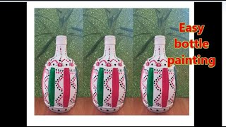 Fabric painting on Bottle / Bottle art / Bottle Painting / Easy Bottle Craft