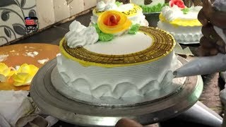 Easy Cake Making and Cake Decorating Video   Simple Cake   My Street Food