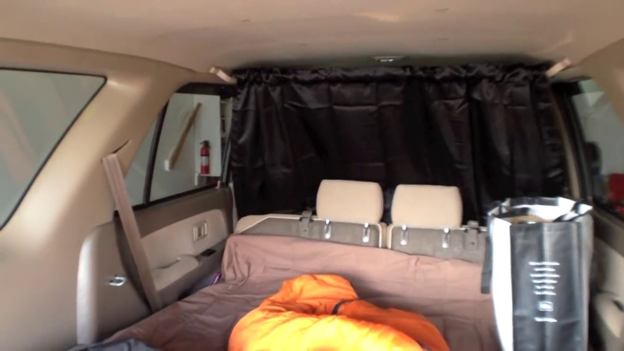 how to hang clothes or a curtain in your car youtube. Black Bedroom Furniture Sets. Home Design Ideas