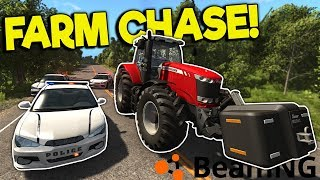 CRAZY TRACTOR & HARVESTER POLICE CHASE & CRASHES! - BeamNG Gameplay...