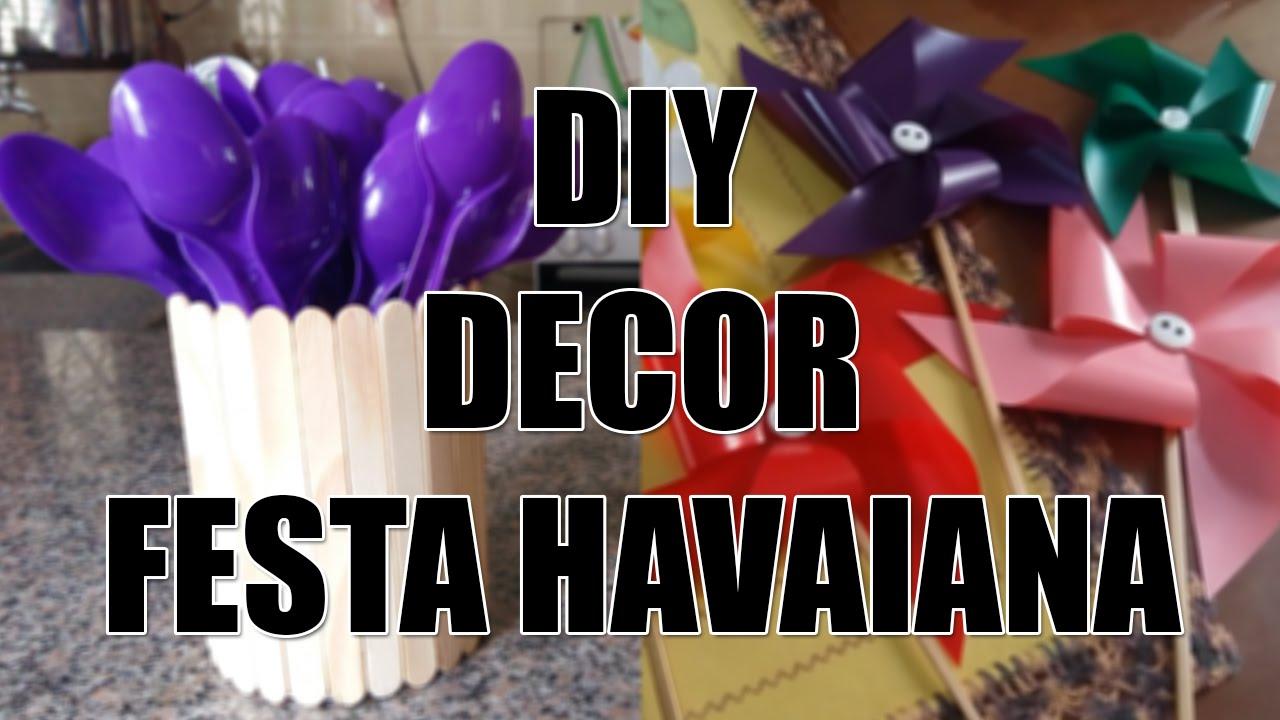 DIY decor festa havaiana Catavento e Porta trecos YouTube # Decoração De Festa Havaiana Simples