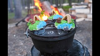 DELICIOUS Dutch Oven Camping Dessert - Chocolate Cupcakes Cooked Right at Camp!