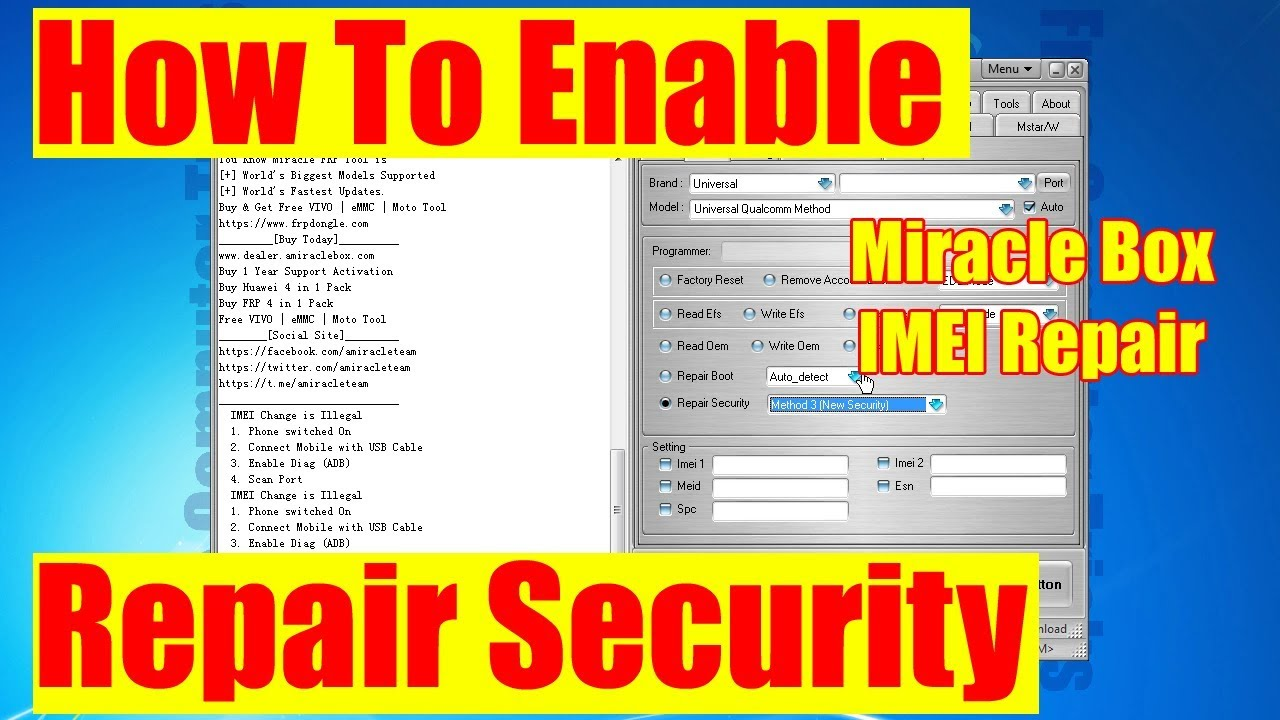 How to Enable Repair Security and IMEI Option in Miracle Thunder
