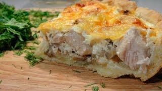 Киш с курицей и грибами - очень простой рецепт вкусного пирога