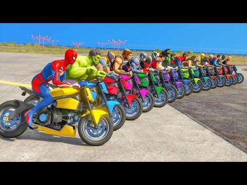 el hombre araña en moto   Spiderman and all superhero moto bike challenge   GTA 5 MOD - Видео онлайн