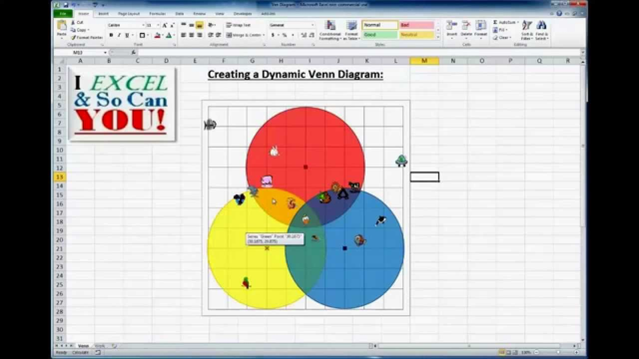 how to really make a venn diagram chart in excel