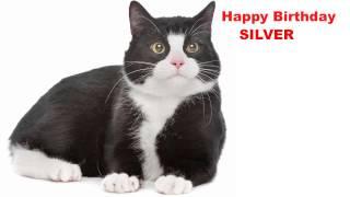 Silver  Cats Gatos - Happy Birthday