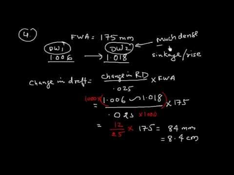 Ship Stability _Effect of density on draft & displacement_ Ex 5 _  Problems 1-5