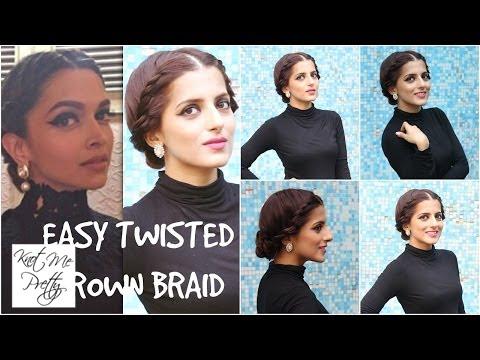 Easy Twisted Crown Braid Deepika Padukone Easy Bun Hairstyle