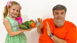 Nastya teaches dad to eat healthy food and exercise