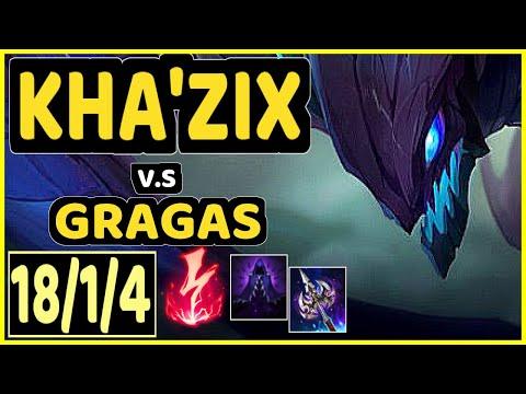 COMP (KHA'ZIX) vs GRAGAS - 18/1/4 KDA JUNGLE GAMEPLAY - EUW Ranked MASTER