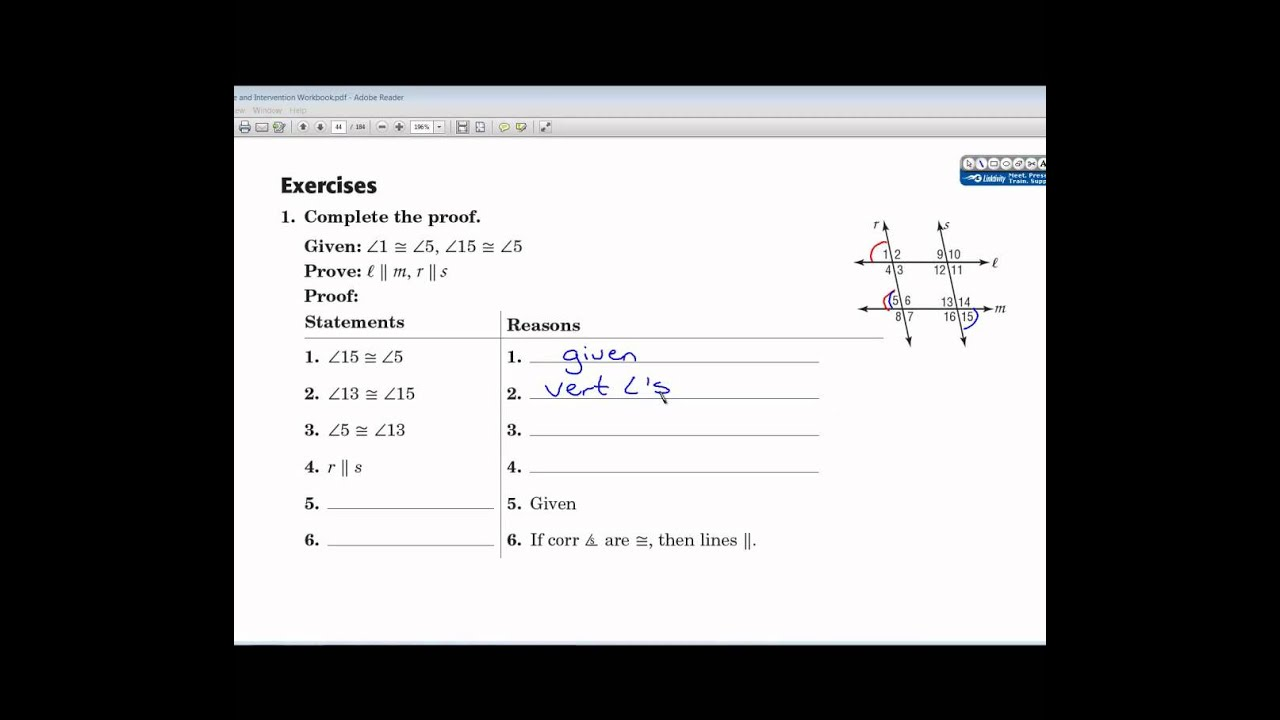 021 Geometry for lesson 3.5 parallel line proofs - YouTube