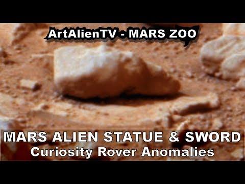 Mars Alien Elongated Cone-head Statue & Sword: Curiosity Anomalies. ArtAlienTV - 738p