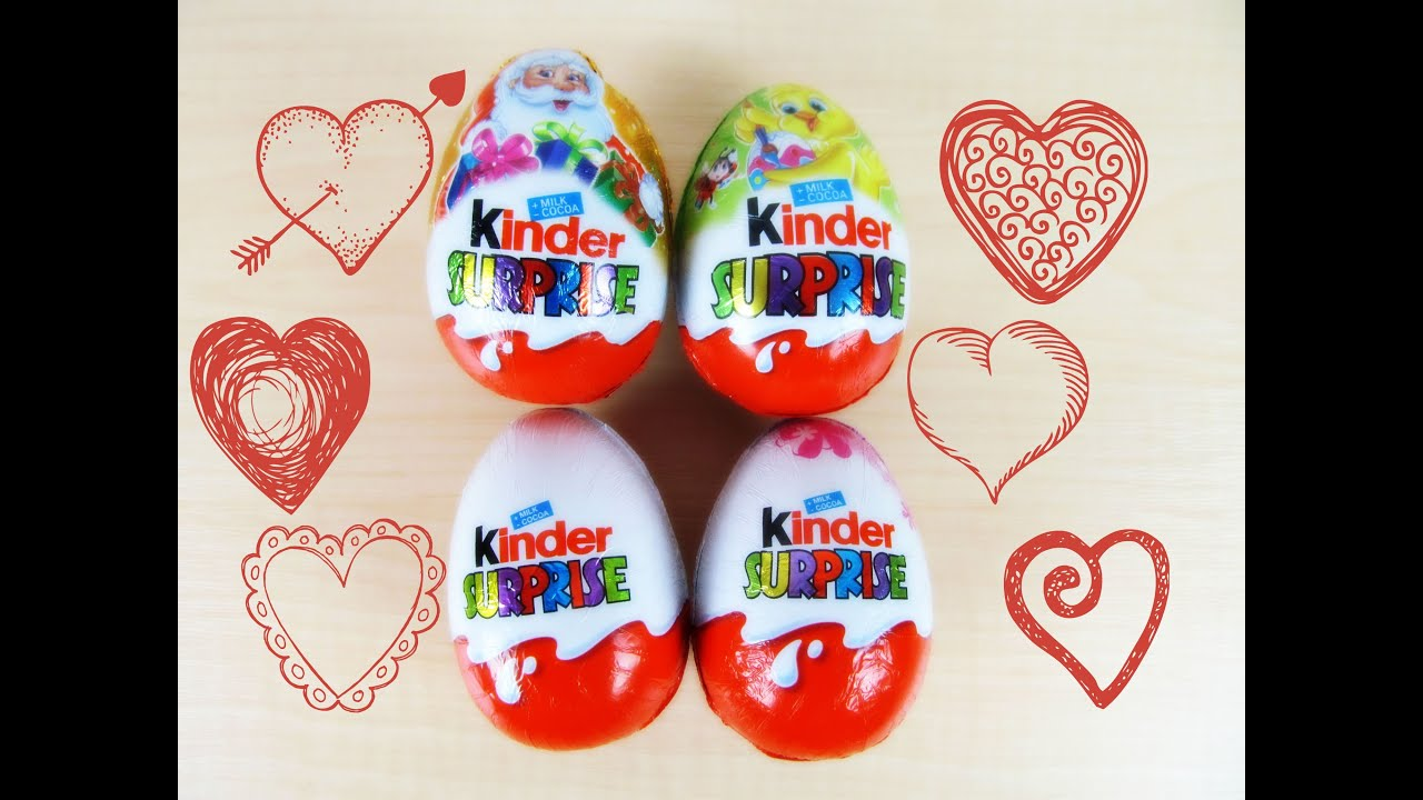 Opening 4 cute kinder surprise eggs toys santa claus duck hearts kitty