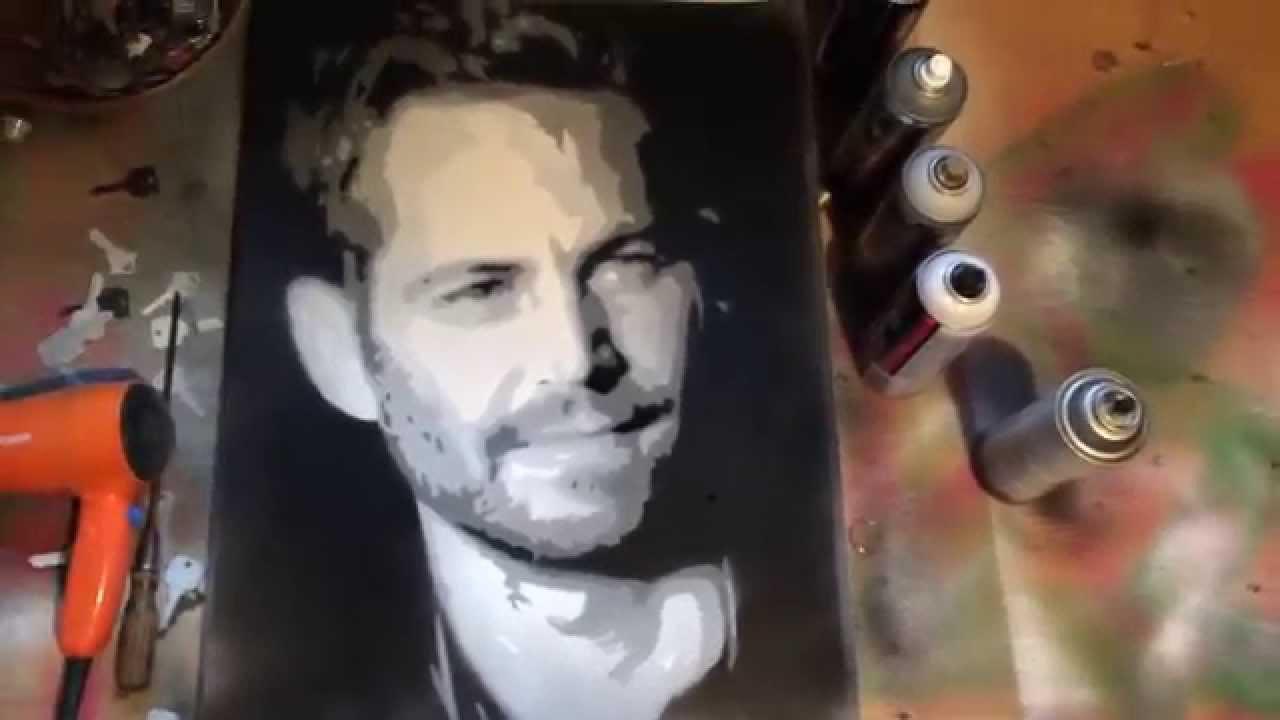 Celebrity spray paint paul walker youtube