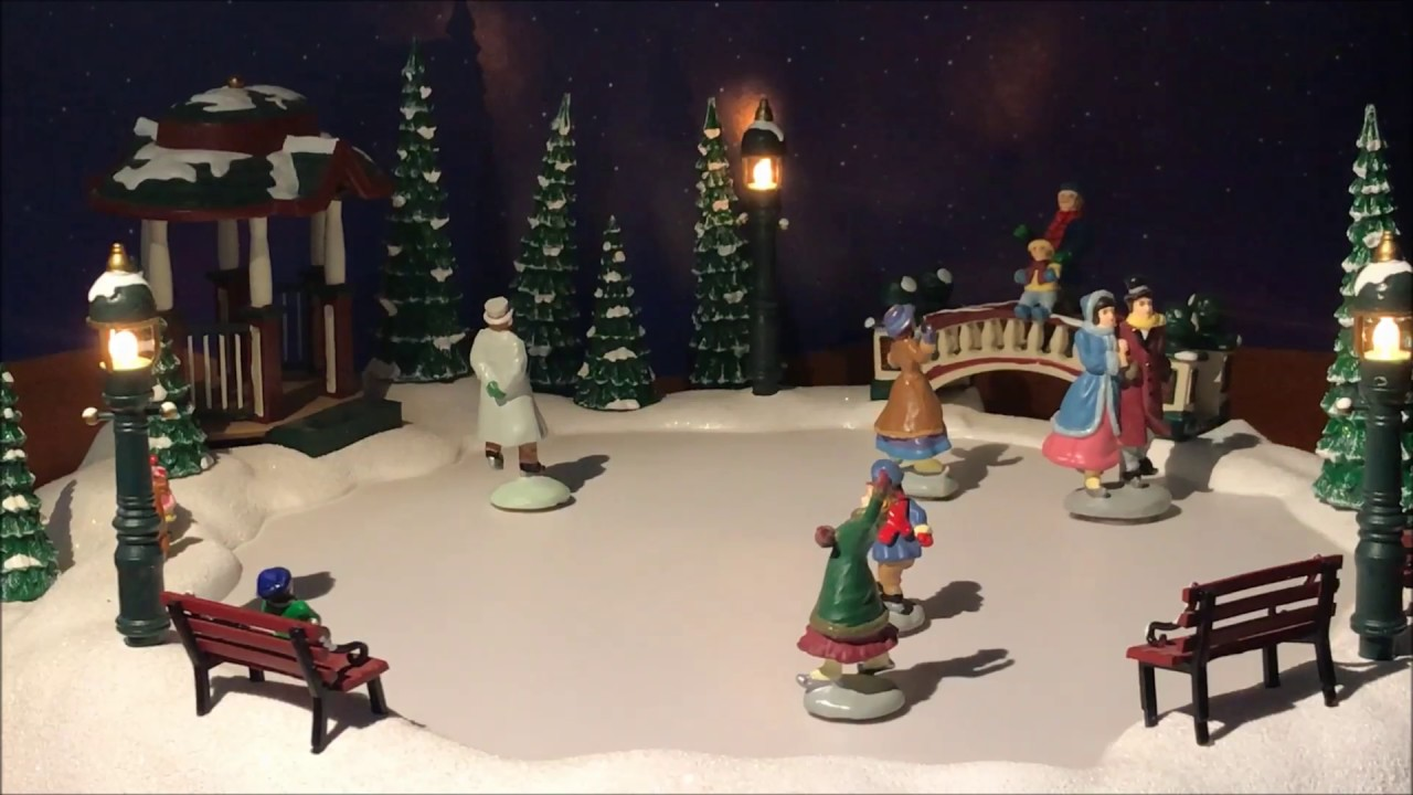 Christmas Village Ice Skating Rink.Christmas Joy Musical Ice Skating Rink