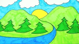 Kids Coloring Video: Magical Landscape With Hills, Trees, River and Sun