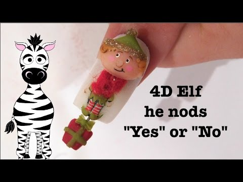 4d Elf Who Says Yes Or No Acrylic Nail Art Design Tutorial Chrsitmas