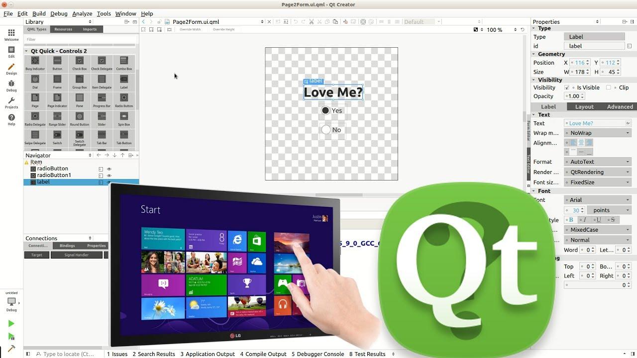 [Qt TouchScreen] Qt Creator IDE: Qt Quick Controls 2: Page | Tab | Index |  Add/Delete