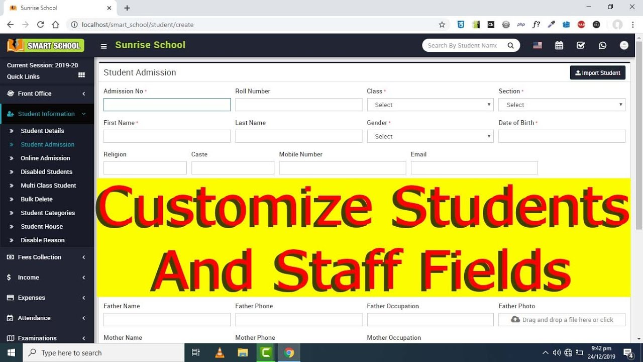 Customize Fields of Student and Staff in Smart School Software
