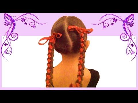 Плетение косы с лентой. Коса с лентой