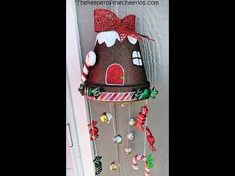 Clay Pot Gingerbread House Wind Chime