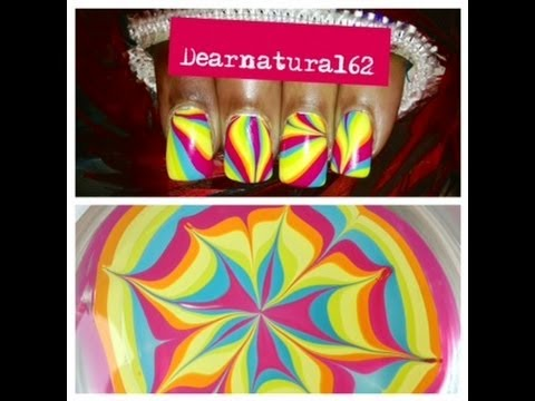 Nail art rainbow water marble shout dearnatural62 youtube prinsesfo Image collections