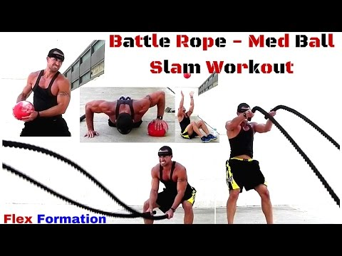 Intense 6 Minute Battle Rope And Med Slam Ball Workout - Tabata Style Workout